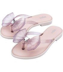 sandalia flip flop slim casual rosa glitter melissa