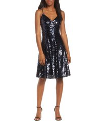 women's vince camuto sequin fit & flare party dress