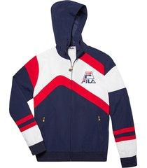 fila men's full-zip hooded jacket - black white - size xl