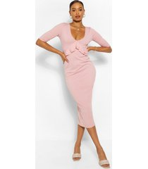 frill detail rib midaxi dress, dusty rose