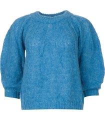 alpaca trui met pofmouwen lucie  blauw
