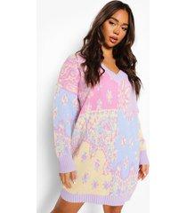 oversized gebreide trui jurk met bandana patches, pastel blue