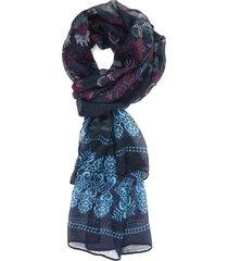 lenço bijoulux azul com folhas e flores - kanui