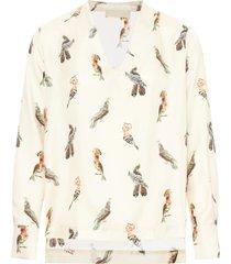 camicetta acquamarina motivo pappagalli in twill di seta