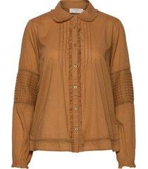 birgacr shirt långärmad skjorta brun cream