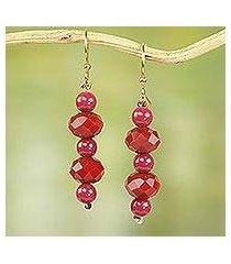 recycled plastic dangle earrings, 'ahomka experience' (ghana)