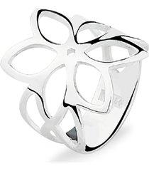anel prata rara floral prata