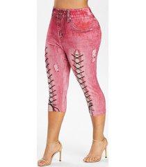 plus size 3d lace up print faux denim leggings