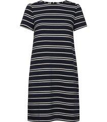 stella textured shift dress ss knälång klänning blå tommy hilfiger