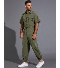 hombre verano casual street style llanura botón con cinturón monos de bolsillo delantero mono