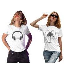 kit 2 camisetas femininas my t-shirt life branca