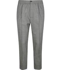 ami alexandre mattiussi ribbed elastic waist buttoned trousers