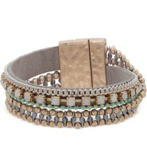 lonna & lilly gold-tone crystal & stone polyester magnetic wrap bracelet