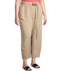 eileen fisher women's plus ankle lantern pants - khaki - size 2x (18-20)