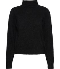 brooky knit glitter volumen t-neck turtleneck polotröja svart second female