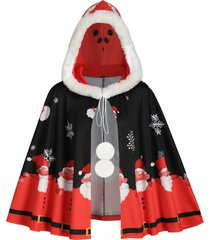 faux fur trim hooded christmas snowflake santa claus plus size cape