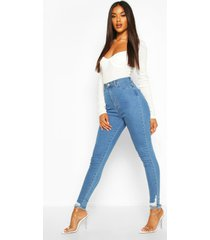 power stretch skinny jeans met gerafelde zoom, lichtblauw