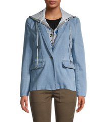 central park west women's 2-in-1 hooded denim blazer - heather grey blue combo - size l