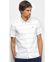 camisa lacoste listrada masculina