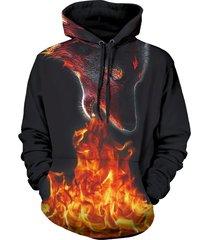 wolf fire 3d print kangaroo pocket pullover hoodie