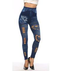 estampado floral azul hueco diseño pantalones