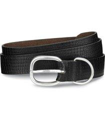 men's allen edmonds croco print leather belt, size 36 - black
