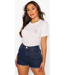 petite kort t-shirt 'little by little' met borstopdruk, wit