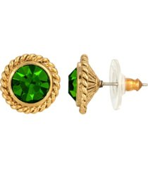 2028 women's 14k gold dipped green round button stud earrings