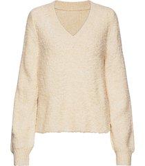vibossa knit v-neck l/s top stickad tröja beige vila