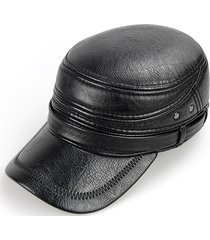 cuoio dell'unità di elaborazione del mens caldo con i cappelli piatoni pieghevoli di earflaps casuale cappello di protezione normale dell'esercito antivento