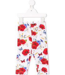 monnalisa poppy print leggings - white