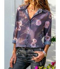 botón morado diseño floral classic blusa de manga larga con cuello