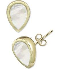 argento vivo mother-of-pearl teardrop stud earrings in gold-plated sterling silver