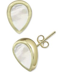argento vivo mother-of-pearl teardrop stud earrings in gold-plated sterling silver