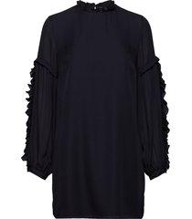 valeria frill sleeve dress blouse lange mouwen blauw mayla stockholm