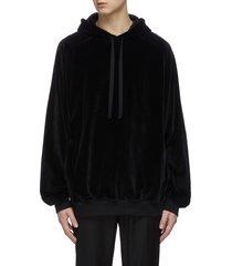 back embroidered velvet hoodie