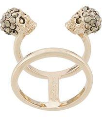 alexander mcqueen twin skull double ring - gold
