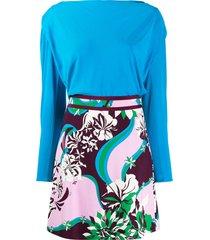 emilio pucci multicoloured printed dress - blue