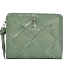 marc jacobs mini the quilted softshot wallet - green