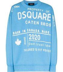 dsquared2 logo-print long-sleeve sweatshirt - blue