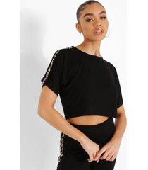 kort luipaardprint t-shirt met zijstreep, black