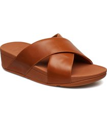 lulu cross slide sandals - leather shoes summer shoes flat sandals brun fitflop