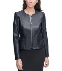calvin klein collarless faux-leather jacket