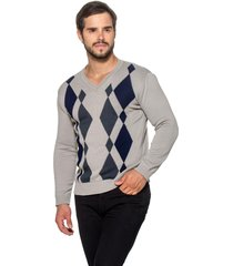 suéter officina do tricô losango cinza - kanui