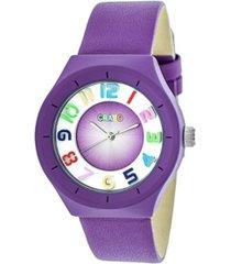 crayo unisex atomic purple genuine leather strap watch 36mm