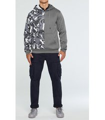 hombres otoño / invierno casual patchwork camo sudadera con capucha