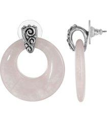 2028 pewter semi precious round rose quarts hoop earrings