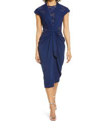 women's tadashi shoji lace inset cap sleeve cocktail dress, size medium - blue