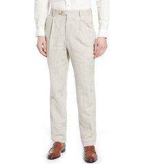 men's berle pleat front linen pants, size 34 - beige