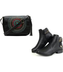 kit bolsa mandala + bota cano curto fivela alice monteiro feminina - feminino